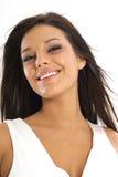 Mooie donkerbruine modelglimlach Royalty-vrije Stock Foto's