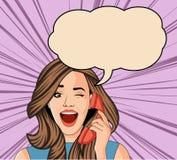 Mooie donkerbruine retro verraste vrouw die op telefoon spreken vector illustratie