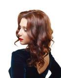 Mooie donkerbruine vrouw Stock Foto