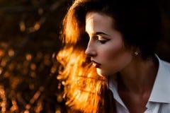 Mooie donkerbruine vrouw met samenstelling Royalty-vrije Stock Fotografie