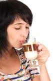 Mooie donkerbruine vrouwendranken Royalty-vrije Stock Afbeelding