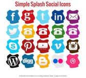 20 mooie eenvoudige plons sociale media pictogrammen Royalty-vrije Stock Foto