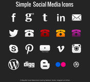 20 mooie eenvoudige sociale media pictogrammen Stock Fotografie