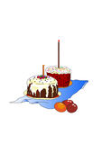 Mooie eieren en heerlijke cakes Stock Afbeeldingen