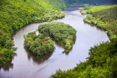 Mooie eilanden op grote rivier Royalty-vrije Stock Afbeeldingen