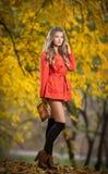 Mooie elegante vrouw met het oranje laag stellen in park in de herfst. Jonge mooie vrouw met blondehaar het besteden tijd in herfs royalty-vrije stock foto