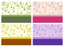 4 mooie en elegante bloemenuitnodigingskaart Royalty-vrije Stock Afbeeldingen