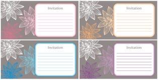 4 mooie en elegante uitnodigingen Stock Afbeeldingen