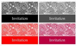 4 mooie en elegante vectoruitnodigingskaart Stock Foto