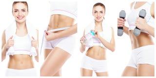 Mooie en geschikte vrouw in een geschiktheidstraining Geïsoleerde collage Sport, voedings, gezondheids en gewichtsverliesconcept royalty-vrije stock foto