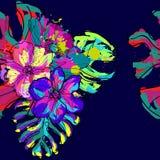 Mooie en kleurrijke hand getrokken Hawaiiaanse tropische bloemen herhaalde patroonvector Stock Afbeeldingen