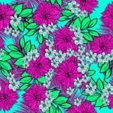Mooie en kleurrijke hand getrokken Hawaiiaanse tropische bloemen herhaalde patroonvector Royalty-vrije Stock Fotografie