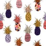 Mooie en leuke kleurrijke hand getrokken ananas vulling- met Ha stock illustratie