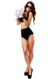 Mooie en sexy vrouw die zwarte lingerie dragen Stock Afbeelding