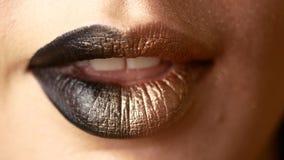 Mooie en sexy vrouwelijke lippen met dure make-up Close-up van geschilderde vrouwelijke lippen stock video
