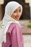 Mooie en zoete Aziatische Maleisische Moslimdame Stock Foto