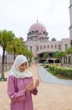 Mooie en zoete Aziatische Maleisische Moslimdame Royalty-vrije Stock Fotografie