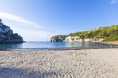 Mooie en zonnige stranddag, Macarella, Minorca, Menorca, Baleari Stock Afbeeldingen