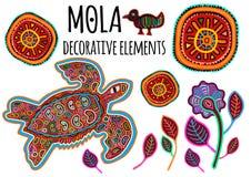 Mooie etnische vectorelementen in Mola-stijl Collectiion van lapwerk exotische dieren Indische atmosfeer, stammenontwerp vector illustratie