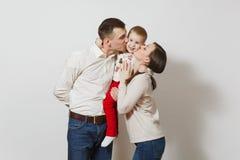 Mooie Europese jongeren op een witte achtergrond Emoties, familieconcept Stock Afbeeldingen