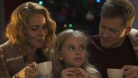 Mooie familie die Kerstmis van vooravond genieten, drinkend hete chocolade met koekjes stock videobeelden