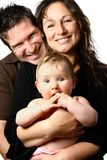 Mooie familie met binnenpretjes Stock Foto