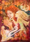 Mooie fantasietekening van een de herfstvrouw met rood haar Royalty-vrije Stock Afbeelding