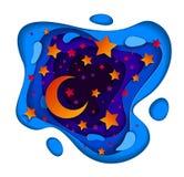 Mooie feenacht met de diep blauwe en violette samenvatting van de krommelijn vector illustratie