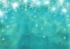 Mooie feestelijke abstracte grungeachtergrond met sneeuwvlokken en glanzende sterren Stock Foto