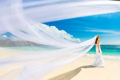 Mooie fiancee in witte huwelijkskleding en grote lange witte trai Stock Foto's