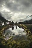 Mooie Flaam-Fjord bij schemer Stock Afbeelding