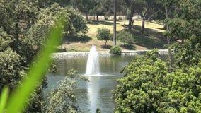 Mooie fontein in een stedelijk park stock footage