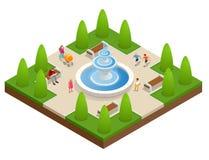 Mooie fontein in het park Een streek van rust en ontspanning De kinderen spelen dichtbij de fontein Vlakke vector isometrisch  Royalty-vrije Stock Fotografie