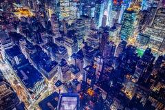 Mooie futuristische antenne die van de Stad van New York wordt geschoten stock fotografie