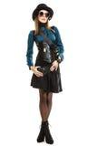 Mooie geïsoleerde steampunkvrouw in glazen Royalty-vrije Stock Afbeelding