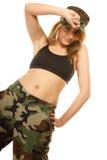 Mooie geïsoleerde vrouw in militaire kleren Stock Foto