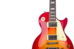 Mooie geïsoleerde zonnestraal elektrische gitaar stock foto