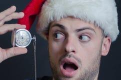 Mooie gebaarde mens, nieuw jaar, Kerstmisachtergrond Stock Afbeeldingen