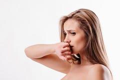 Mooie Gedeprimeerde Vrouw Stock Foto