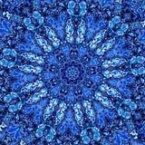 Mooie Gedetailleerde Blauwe Mandala Fractal Abstract patroon als achtergrond Decoratief Modern Kunstwerk Creatief Overladen Beeld Royalty-vrije Stock Fotografie