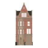 Mooie gedetailleerde lineaire cityscape inzameling met huizen in de stad Kleine stadsstraat met victorian de bouwvoorgevels Stock Foto's