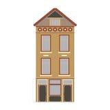 Mooie gedetailleerde lineaire cityscape inzameling met huizen in de stad Kleine stadsstraat met victorian de bouwvoorgevels Stock Afbeeldingen