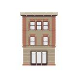 Mooie gedetailleerde lineaire cityscape inzameling met huizen in de stad Kleine stadsstraat met victorian de bouwvoorgevels Royalty-vrije Stock Foto's