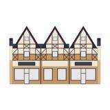 Mooie gedetailleerde lineaire cityscape inzameling met huizen in de stad Kleine stadsstraat met victorian de bouwvoorgevels Stock Foto