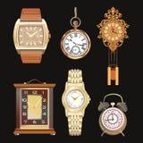Mooie gedetailleerde vastgestelde illustraties van verschillende klokken Muur, lijst, horloges Retro stijl Stock Afbeeldingen