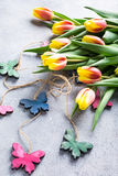 Mooie geeloranje tulpen Royalty-vrije Stock Foto's