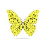 Mooie gele vlinder met bloemenpatroon vector illustratie