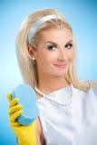 Mooie gelukkige huisvrouw Royalty-vrije Stock Foto's