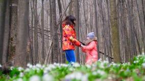 Mooie gelukkige moeder en leuke dochter die pret hebben en door het de lente boshoogtepunt springen van sneeuwklokjes, in zonnig stock videobeelden