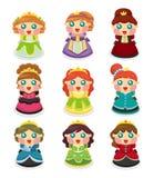 Mooie geplaatste de prinsespictogrammen van het beeldverhaal Royalty-vrije Stock Foto